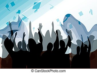 Graduation in silhouette in water color paintingEPS10Vector...