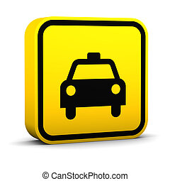 Taxi Sign - Taxi sign on a white background. Part of a...