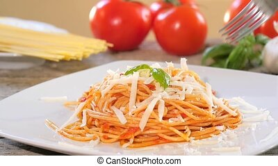 spaghetti with tomato sauce - Traditional italian recipe....