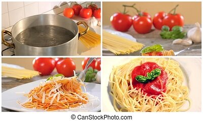 cooking and eating spaghetti - Traditional italian recipe...