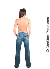 Nacked woman back - Back shot of pretty girl her jeans