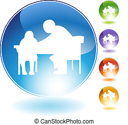 Tutor Teaching Crystal Icon - Tutor teaching crystal...