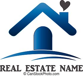 Real estate house logo - Real estate house love card...