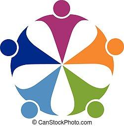 Teamwork friendship party logo - Teamwork friendship party...