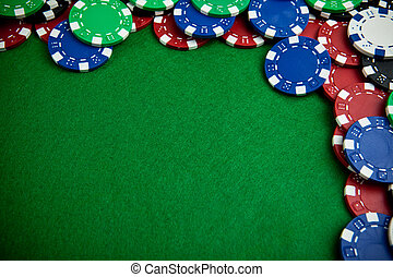 Casino gambling chips with copy space - Gambling chips