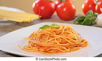 eating italian spaghetti - Traditional italian recipe....