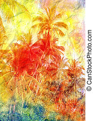 Beautiful watercolor palm trees in Asia on the tropical...