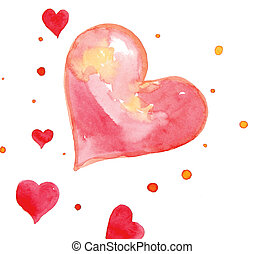 heart - drawing of red heart in a white background