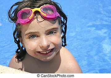 beautiful little girl smiling in pool - beautiful little...