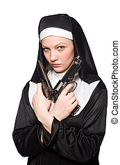 Nun with gun isolated on white