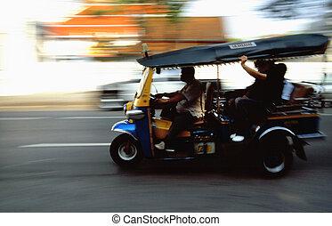 Tuk-Tuk taxi speed trip in Bangkok
