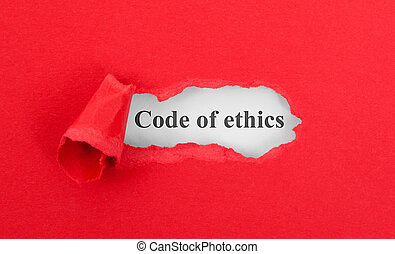 Text appearing behind torn red envelop - Code of ethics