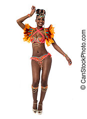 Its carnival time, lets dance - Cheerful samba woman dancing...
