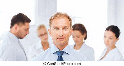hombre de negocios, en, oficina, con, grupo, en, el,...