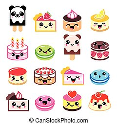 Cute Kawaii dessert - cake icons - Vector icons set of...
