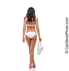 young woman in white bikini swimsuit from back