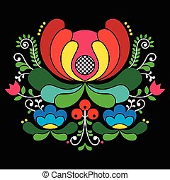 Norwegian folk art pattern - Vector background of floral...