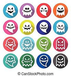 Halloween scary ghost, spirit - Vector round lfat design...