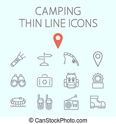 Camping related flat vector icon set - Camping icon related...