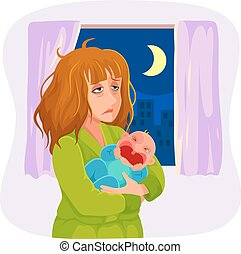 sleepy mother - tired mother carrying a crying baby at night