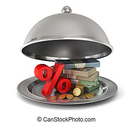 Restaurant cloche with percent sign and money. Profit is submitted!