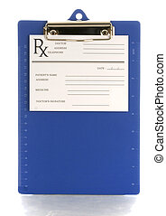 medical clipboard with prescription pad with reflection on...