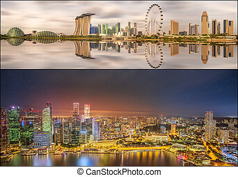 Set of Singapore Skyline and view in Marina Bay - Collage of...