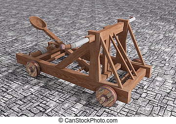 Catapult - 3d rendering of an old wood catapult