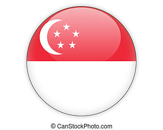 Round icon with flag of singapore isolated on white