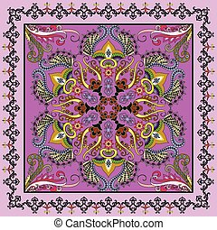 bright pink bandanna with Oriental ornament with a border of arabesques
