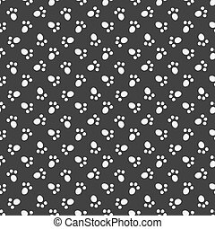 Black vector animal footprint seamless pattern