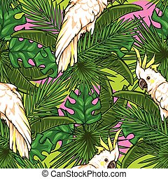 Seamless pattern with palm leaves and parrots, Tropical...