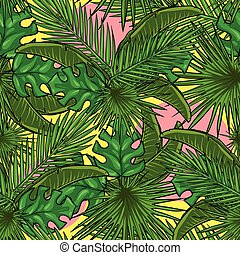Seamless pattern with palm leaves Tropical background