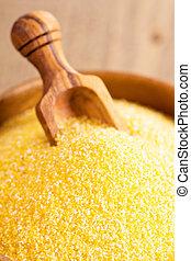 seco, crudo, Harina de maíz, en, de madera,...