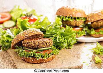 vegan, hamburger, con, lenticchie, e, pistashios,