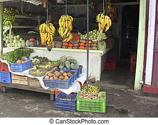fruit and vegetables stall in munnar market - a...