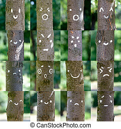 Smileys on Tree - A collection of various smileys painted on...
