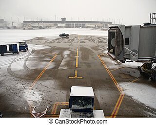 Airport Snow Storm - Winter snow storm at a major north...