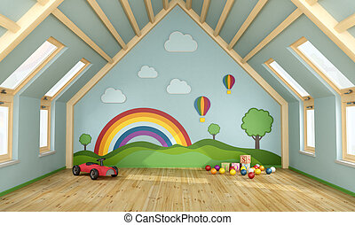 Playroom in the attic with toys and decoration on wall - 3D...