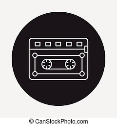 music tape line icon