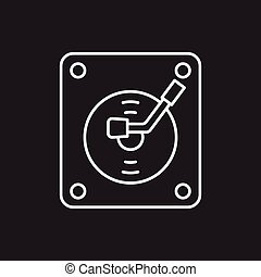 record player line icon