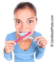 divertido, mujer, toothbrushing