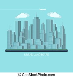 Flat design urban landscape vector illustration