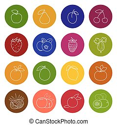 Set Fruit Icons, Colorful Icons of Fruits and Berries,Icons...