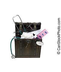 antigüedad, médico, herramientas, tronco
