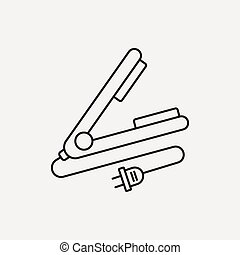 Hair curlers line icon