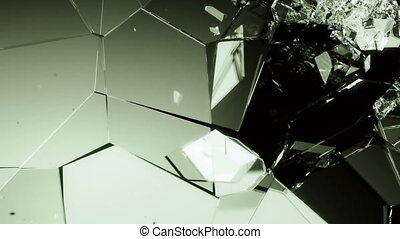 Glass smashed and broken in slow motion