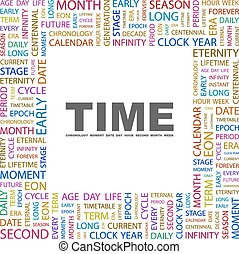 TIME. Concept illustration. Graphic tag collection....