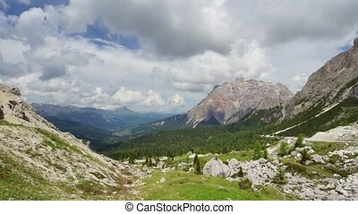 Alpine landscape - Panoramic time-lapse of Dolomites, Italy
