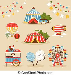 Set of country fair objects